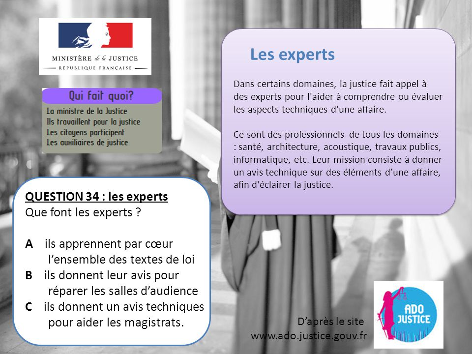 Les experts QUESTION 34 : les experts Que font les experts