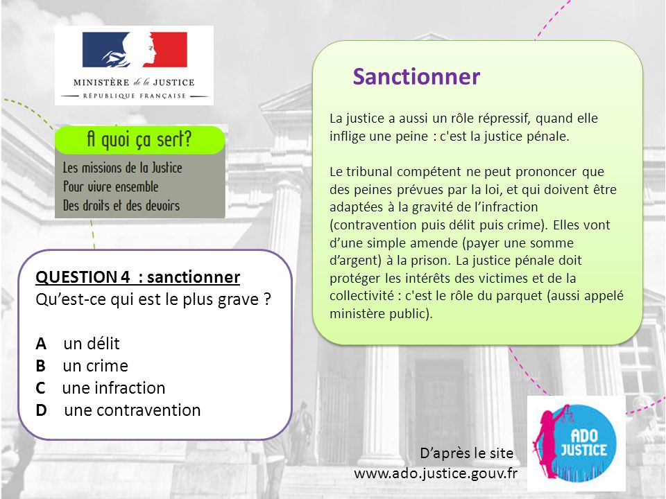 Sanctionner QUESTION 4 : sanctionner Qu'est-ce qui est le plus grave