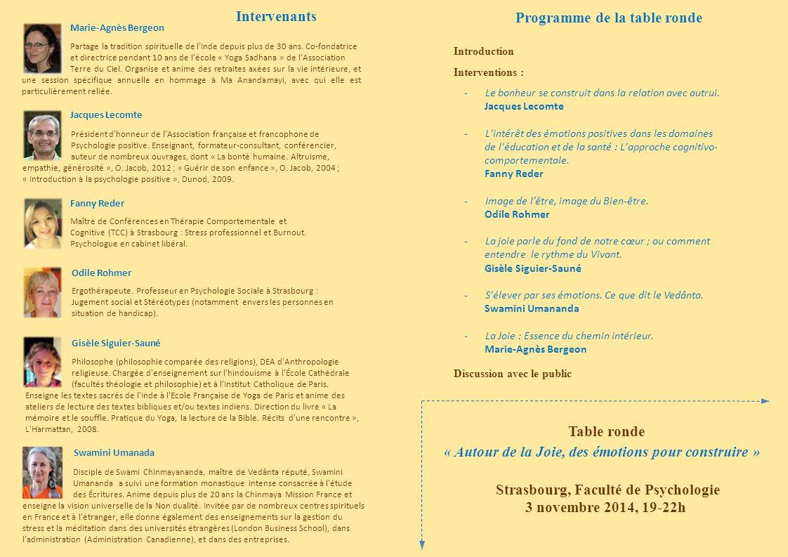 Programme de la table ronde