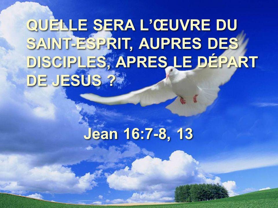 QUELLE SERA L'ŒUVRE DU SAINT-ESPRIT, AUPRES DES DISCIPLES, APRES LE DÉPART DE JESUS