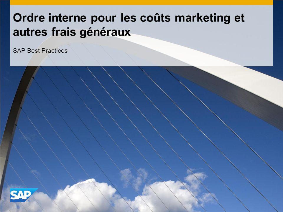 Ordre interne pour les coûts marketing et autres frais généraux