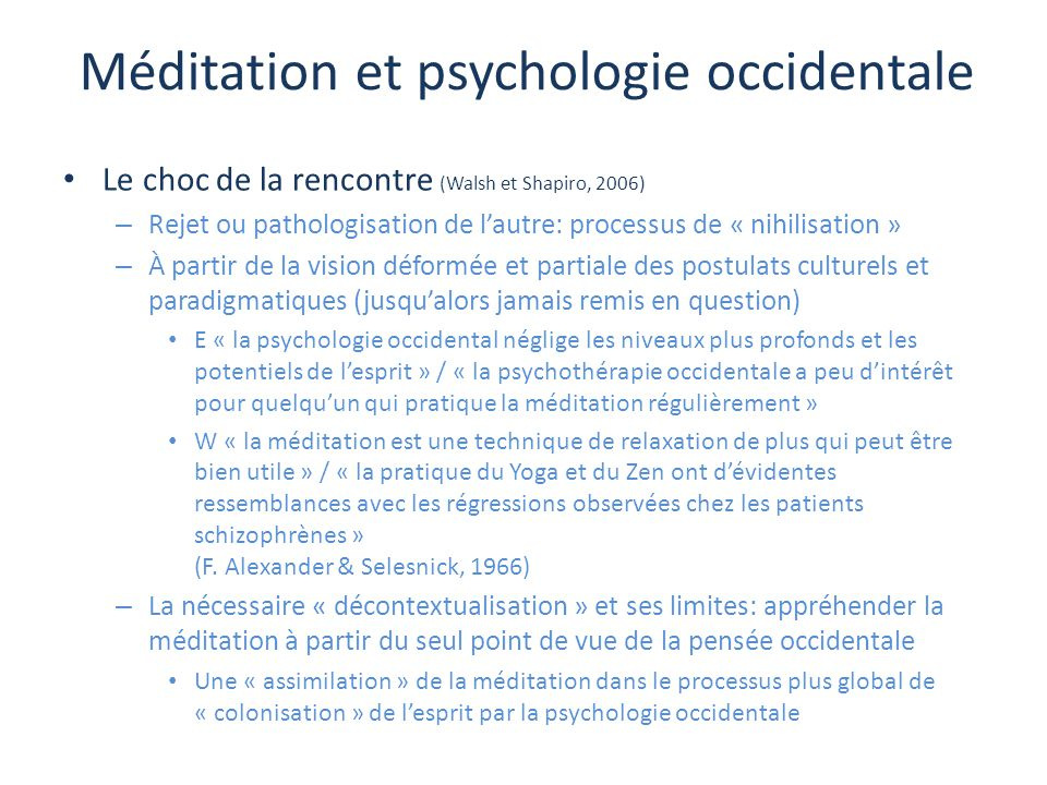 Méditation et psychologie occidentale