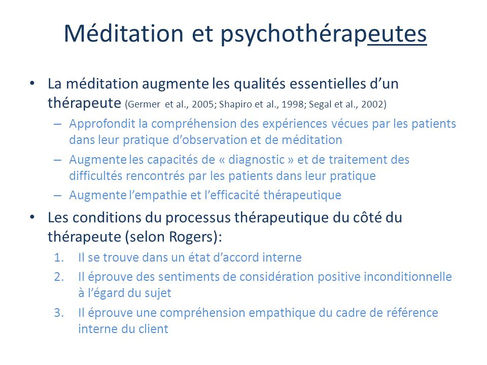 Méditation et psychothérapeutes