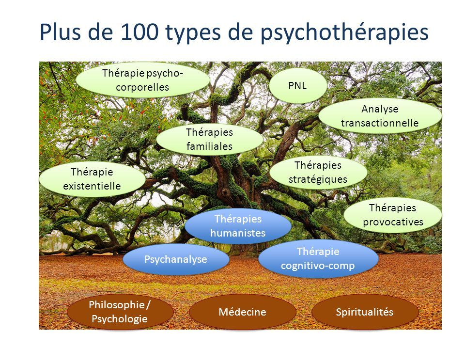 Plus de 100 types de psychothérapies