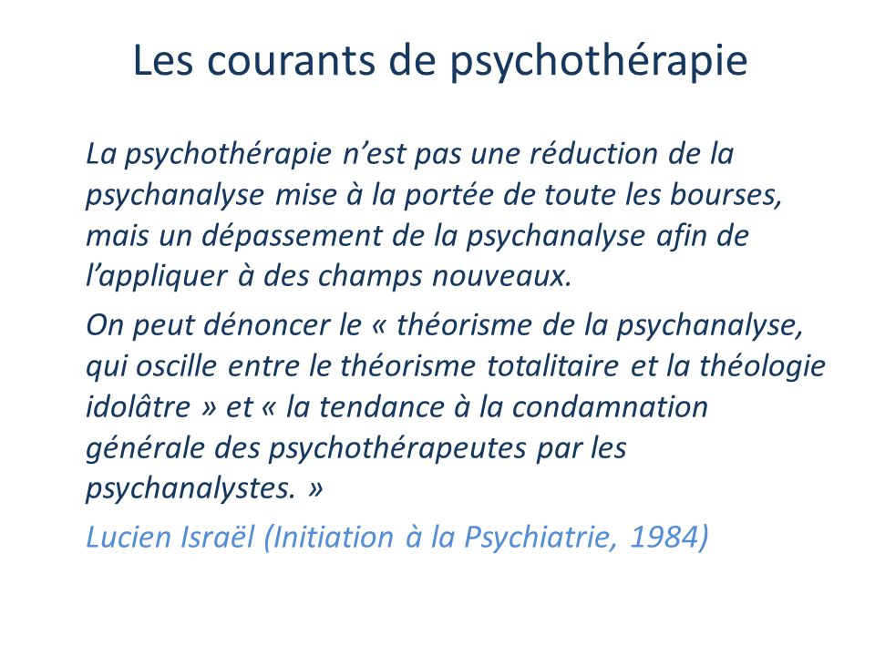 Les courants de psychothérapie