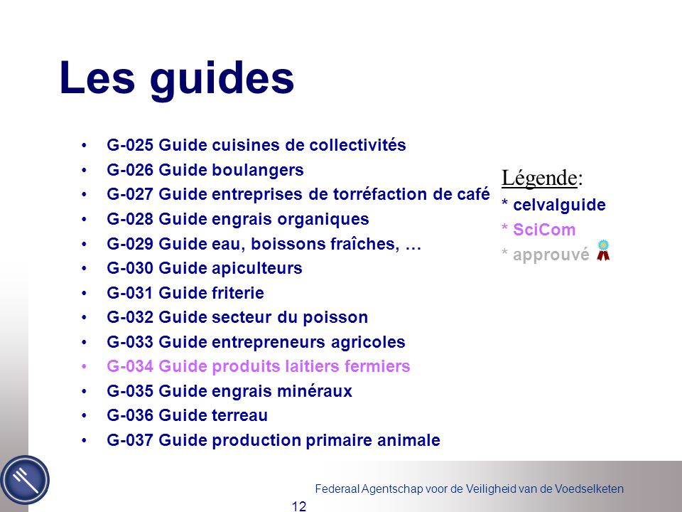 Les guides Légende: G-025 Guide cuisines de collectivités