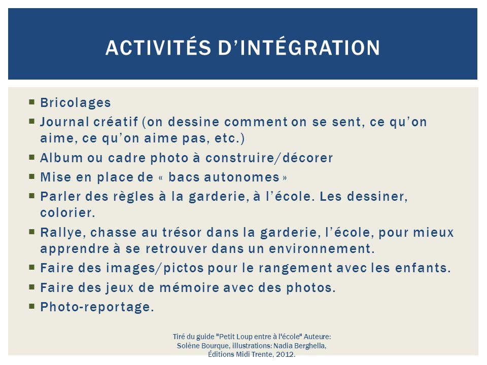 Activités d'intégration