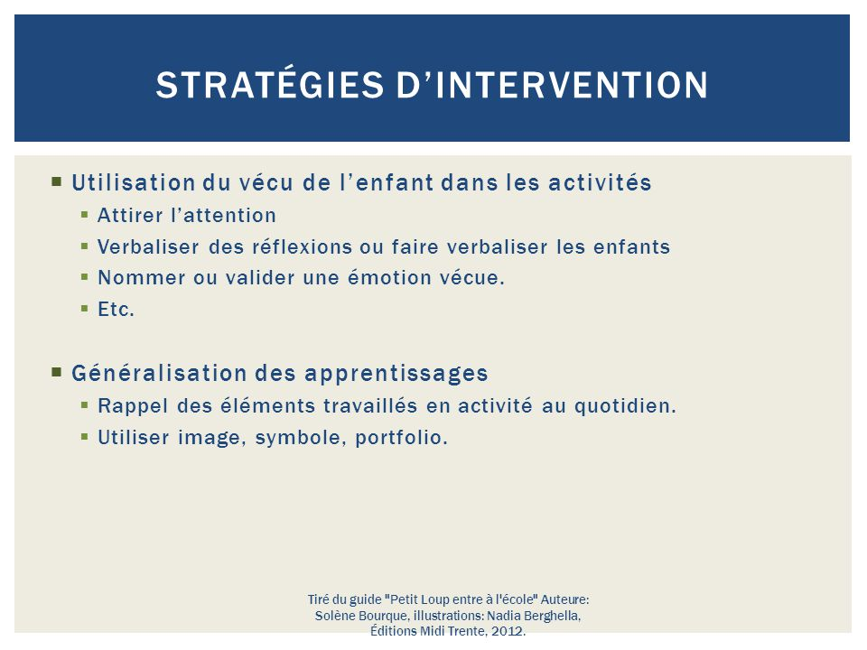 Stratégies d'intervention