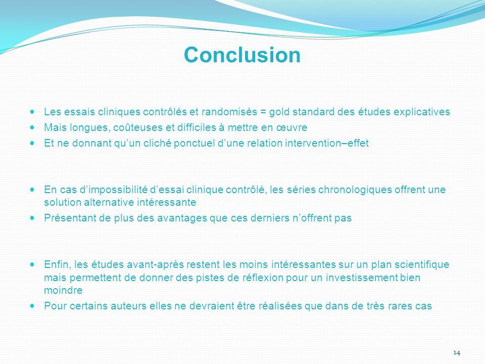 Conclusion Les essais cliniques contrôlés et randomisés = gold standard des études explicatives.