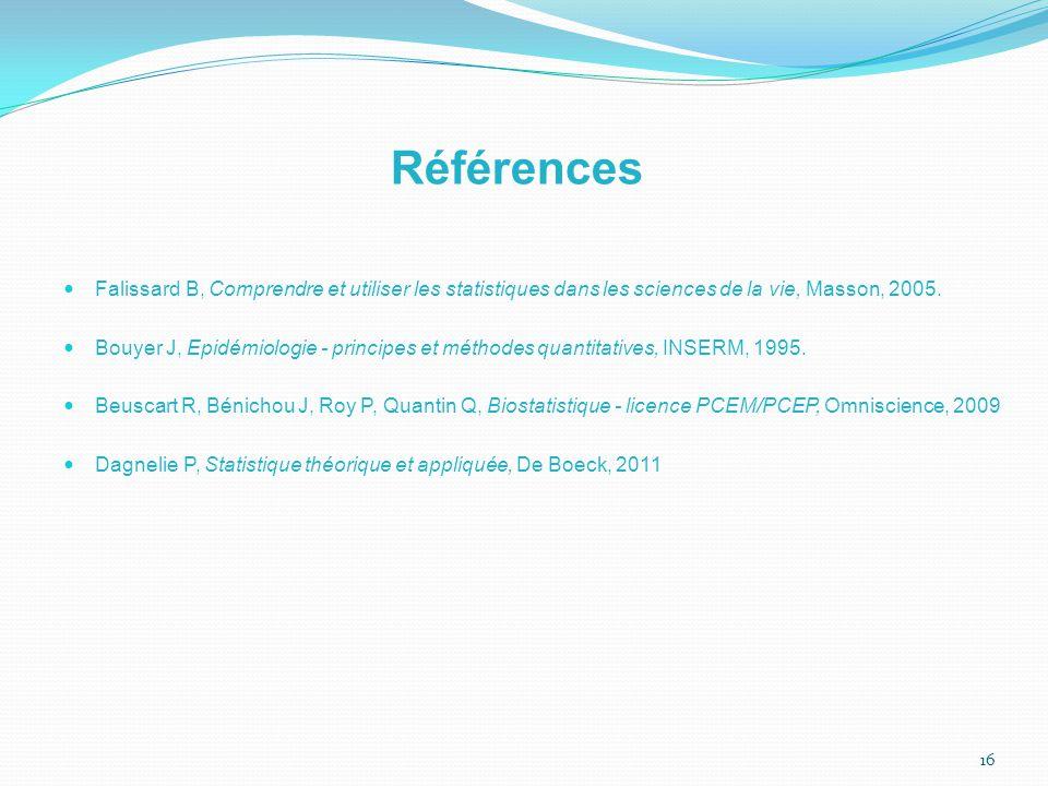 Références Falissard B, Comprendre et utiliser les statistiques dans les sciences de la vie, Masson, 2005.