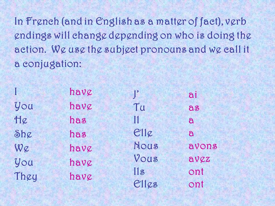 In French (and in English as a matter of fact), verb