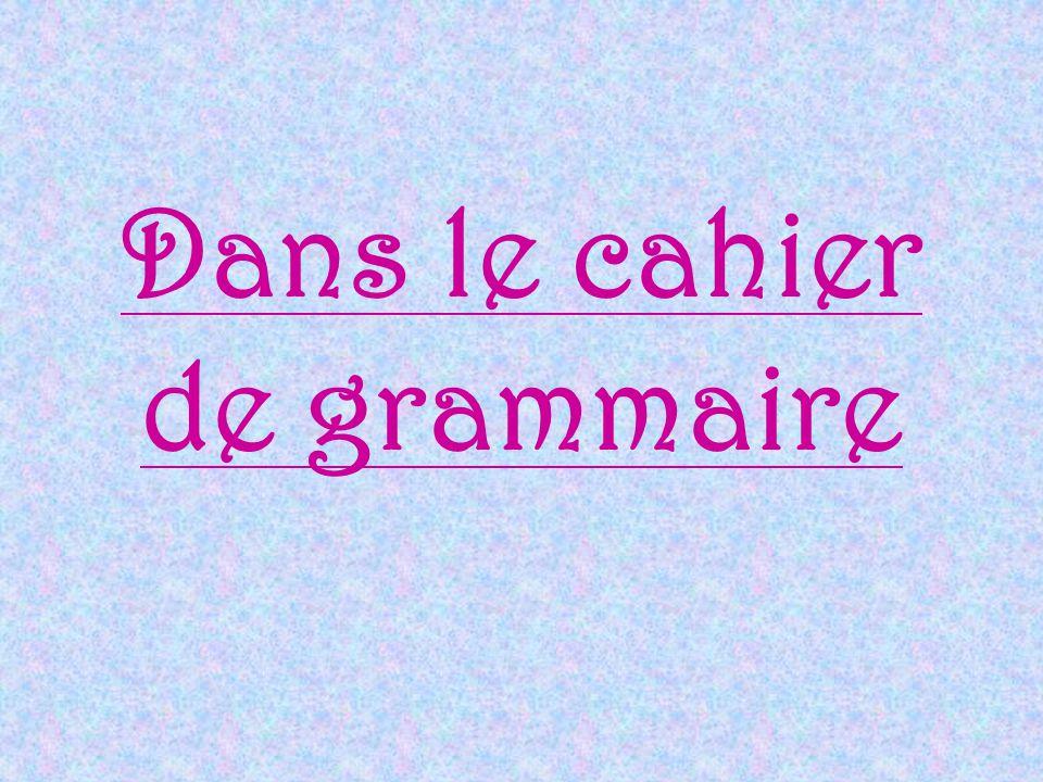 Dans le cahier de grammaire