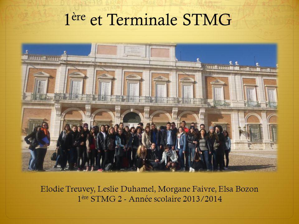 1ère et Terminale STMG Elodie Treuvey, Leslie Duhamel, Morgane Faivre, Elsa Bozon 1ère STMG 2 - Année scolaire 2013/2014.