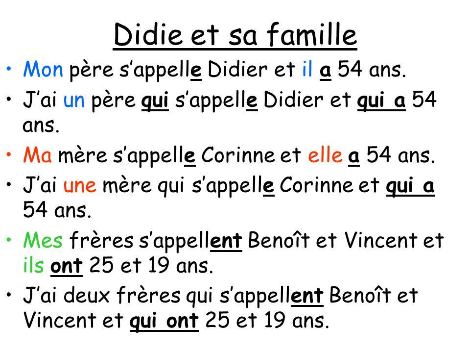 Didie et sa famille Mon père s'appelle Didier et il a 54 ans.