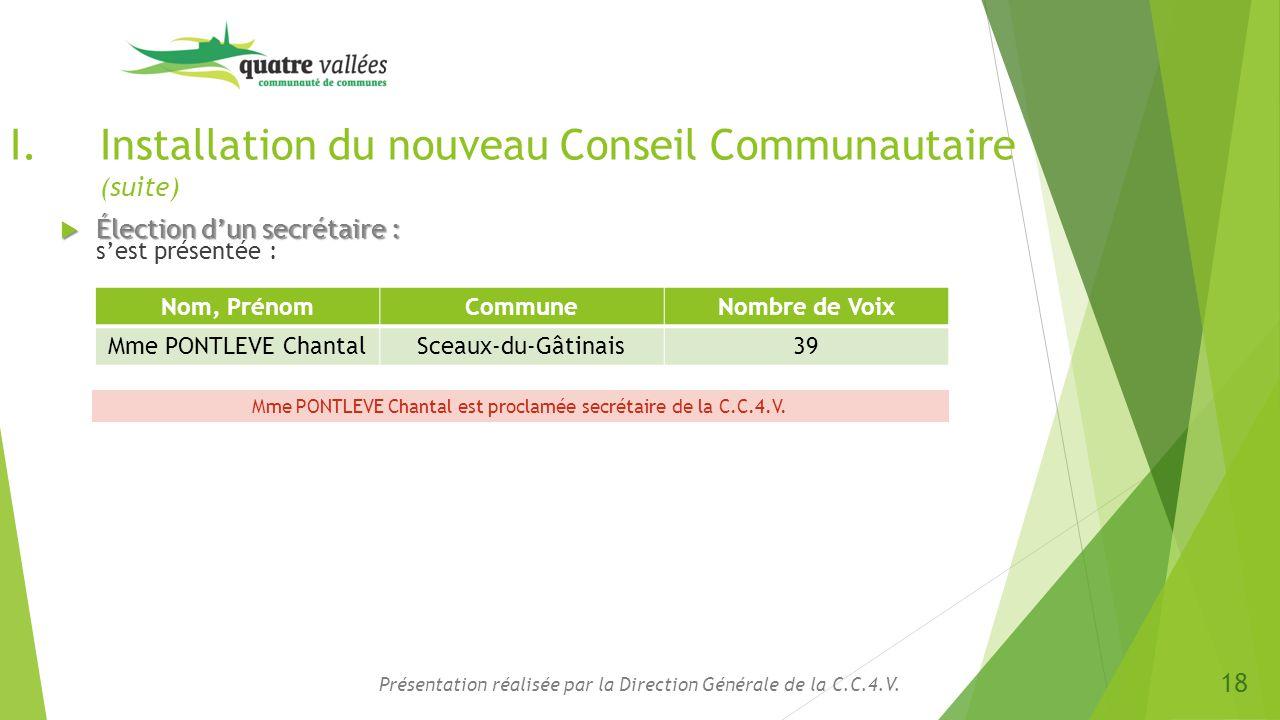 Installation du nouveau Conseil Communautaire (suite)