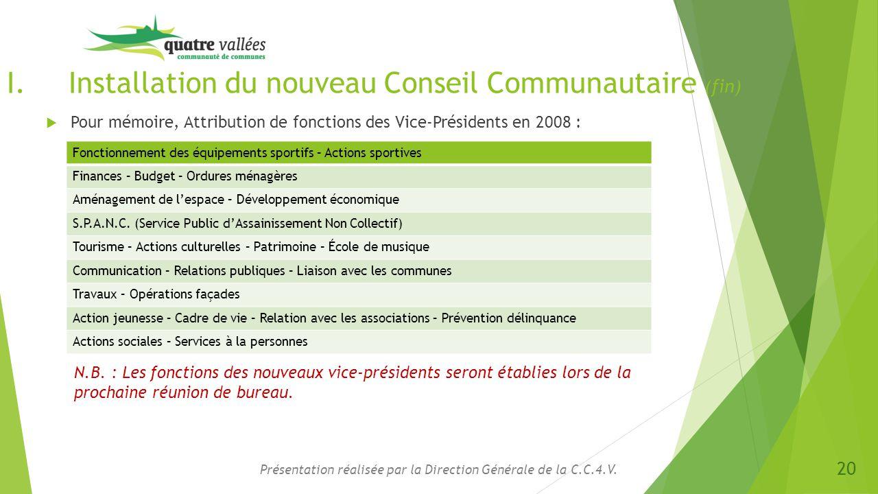 Installation du nouveau Conseil Communautaire (fin)