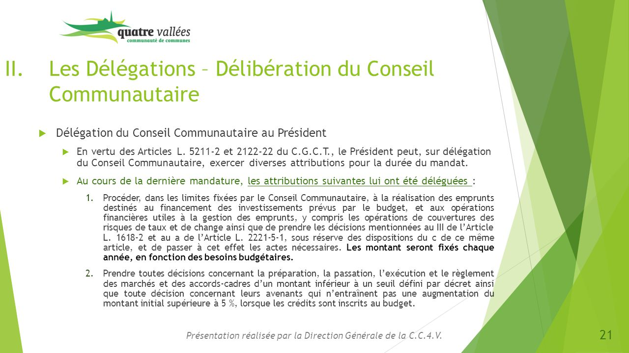 Les Délégations – Délibération du Conseil Communautaire