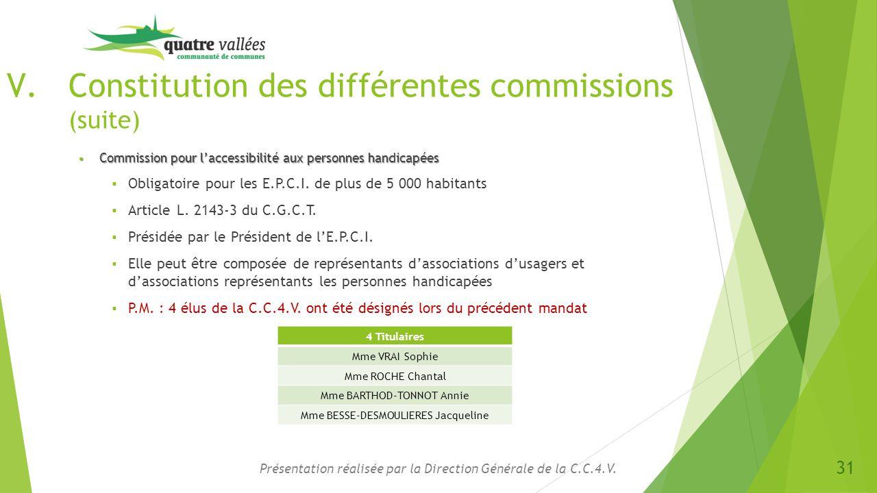 Constitution des différentes commissions (suite)