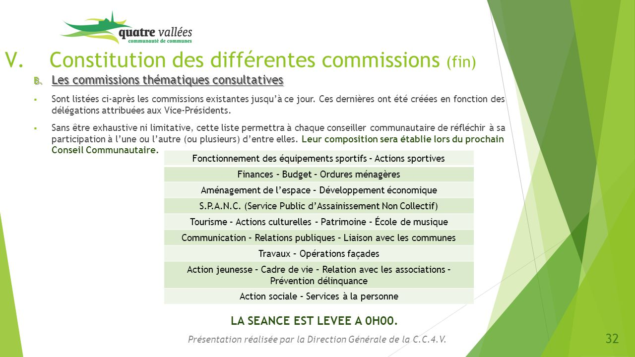 Constitution des différentes commissions (fin)