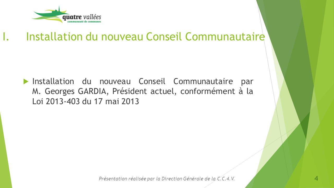 Installation du nouveau Conseil Communautaire