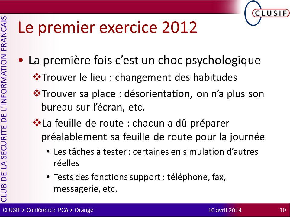 Le premier exercice 2012 La première fois c'est un choc psychologique