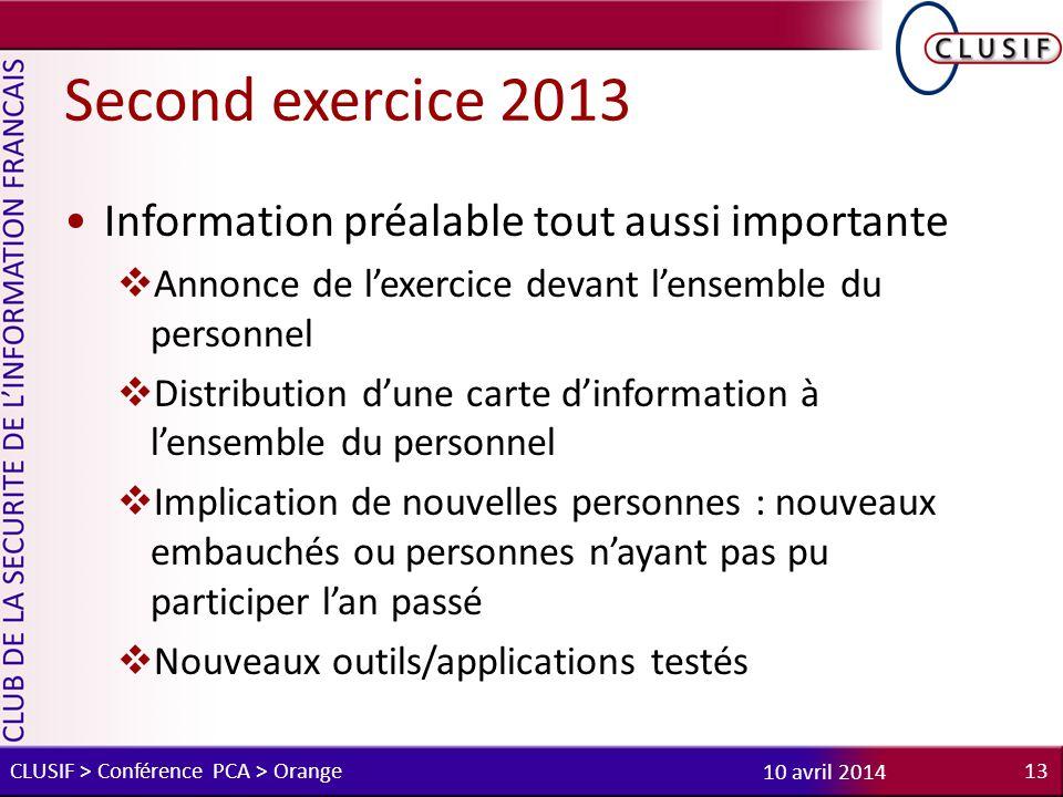 Second exercice 2013 Information préalable tout aussi importante