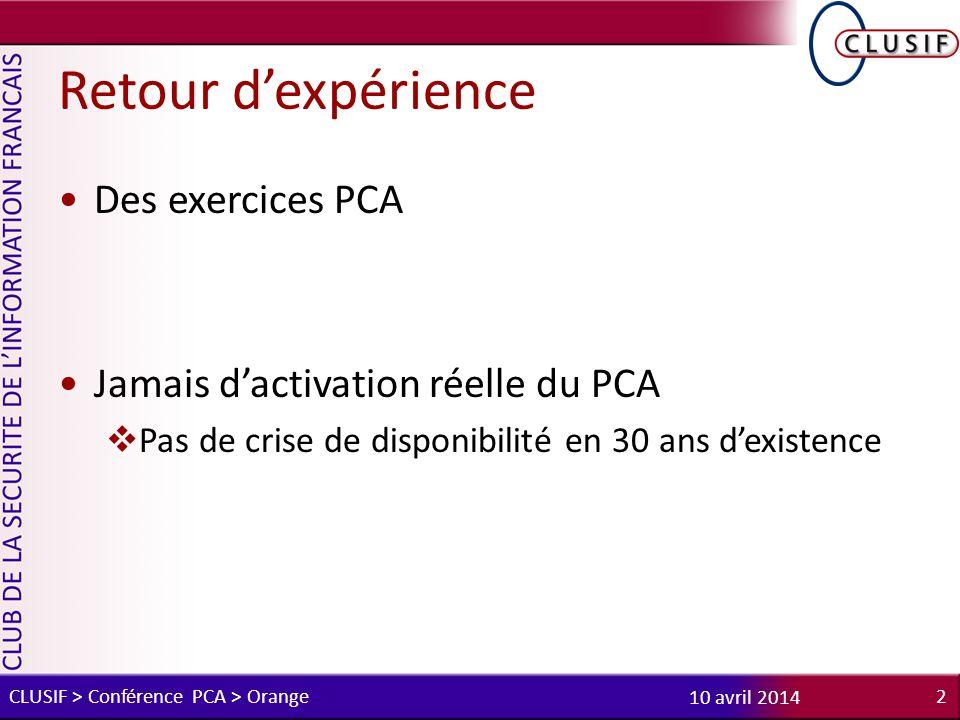 Retour d'expérience Des exercices PCA