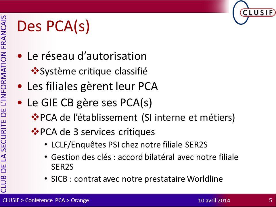 Des PCA(s) Le réseau d'autorisation Les filiales gèrent leur PCA