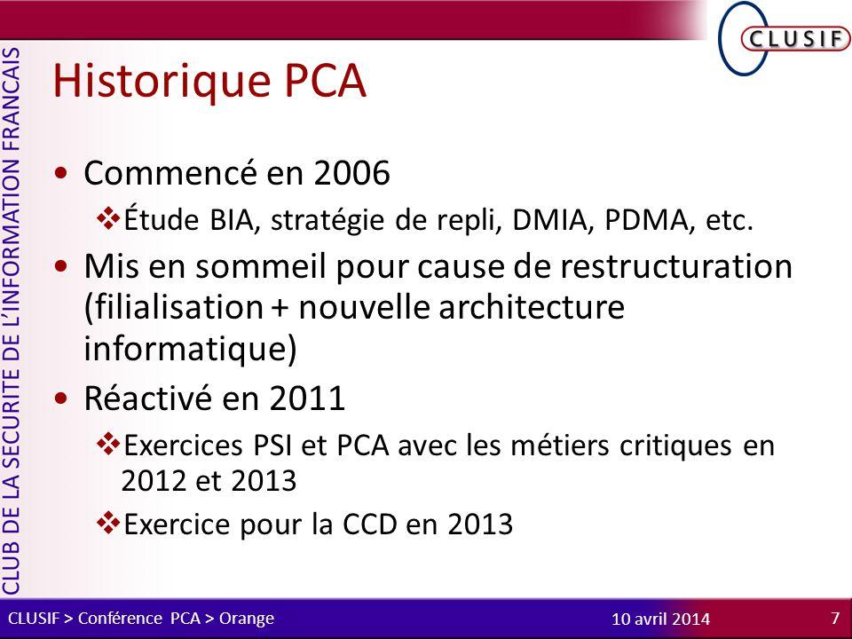 Historique PCA Commencé en 2006