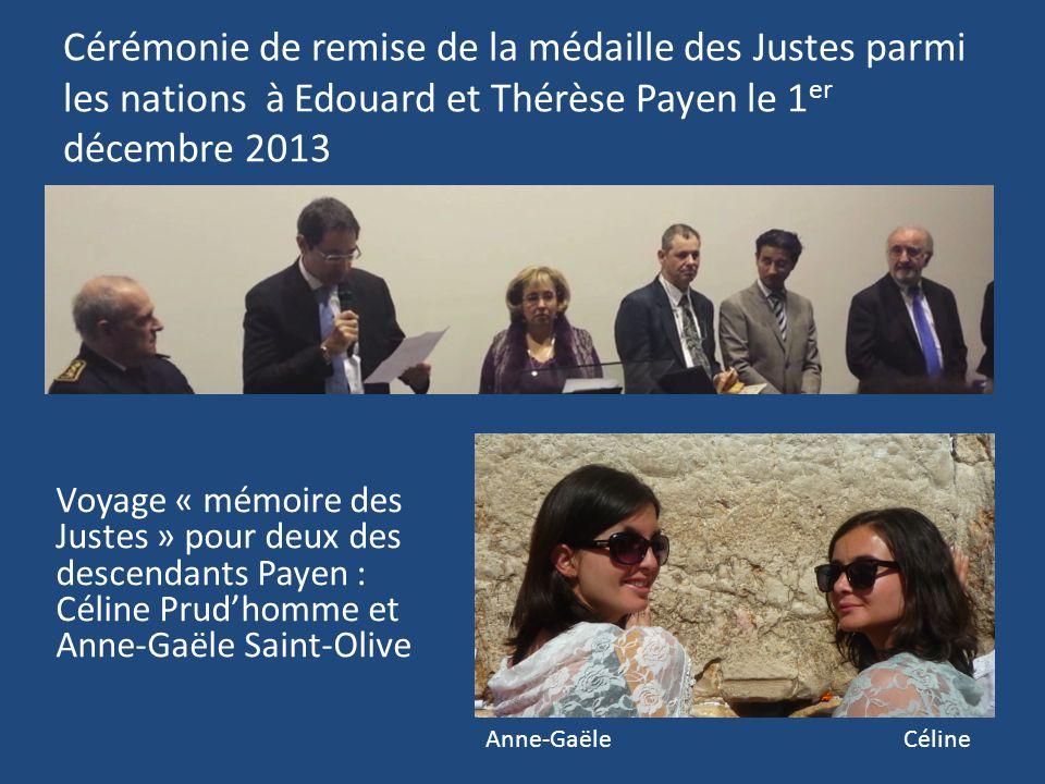 Cérémonie de remise de la médaille des Justes parmi les nations à Edouard et Thérèse Payen le 1er décembre 2013