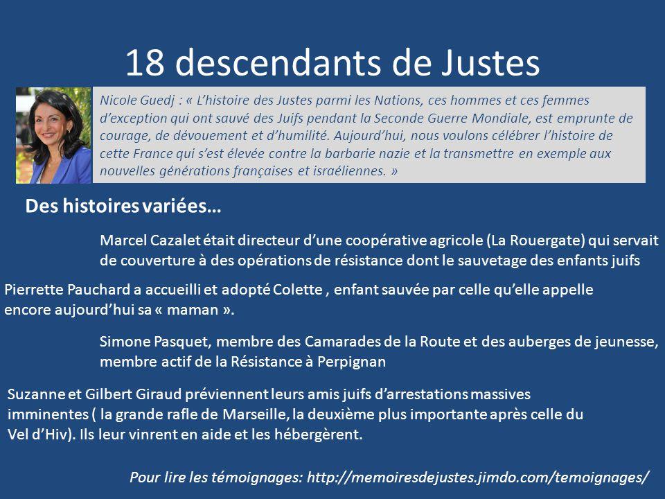 18 descendants de Justes Des histoires variées…