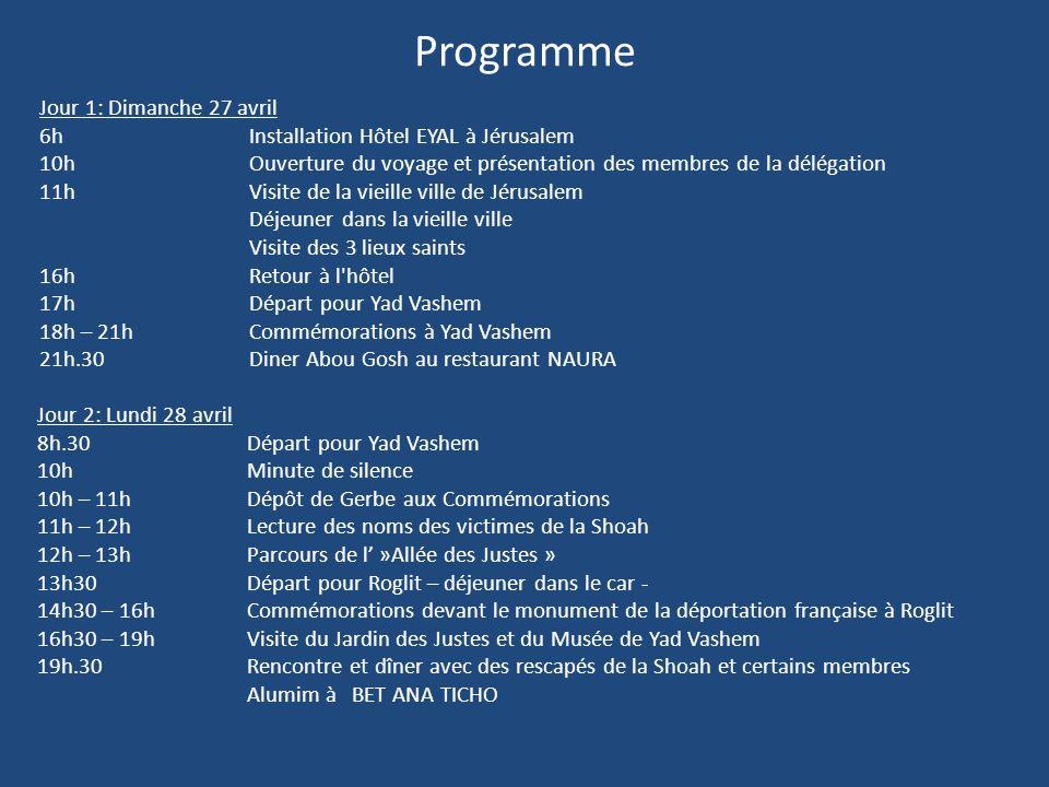 Programme Jour 1: Dimanche 27 avril