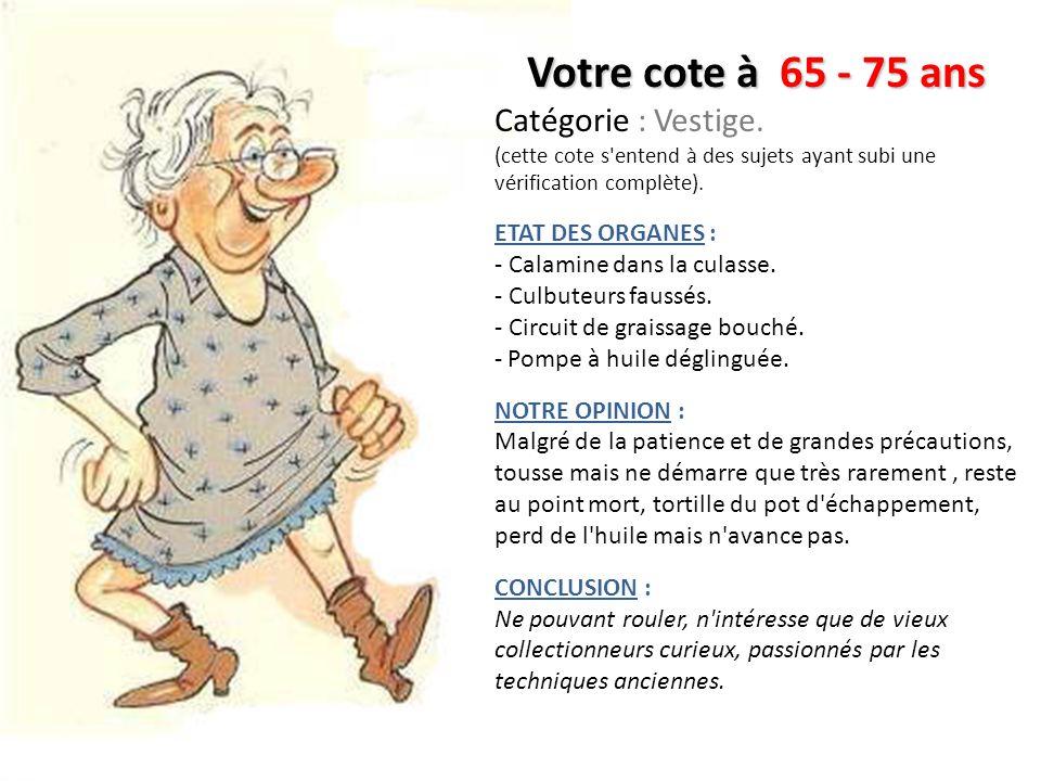 Votre cote à 65 - 75 ans Catégorie : Vestige. ETAT DES ORGANES :