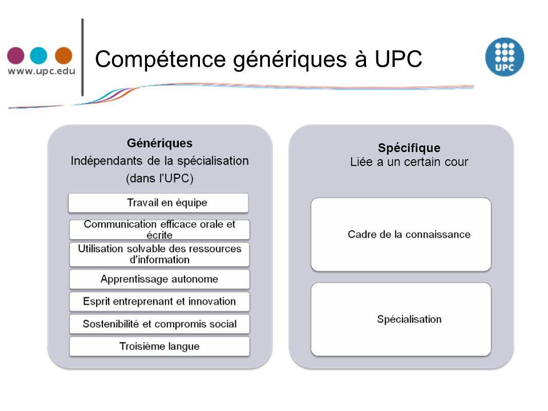 Compétence génériques à UPC