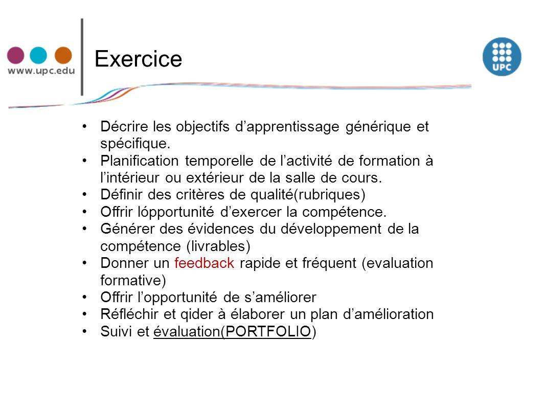 Exercice Décrire les objectifs d'apprentissage générique et spécifique.