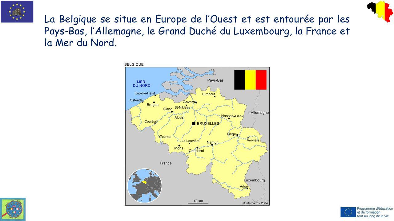 La Belgique se situe en Europe de l'Ouest et est entourée par les Pays-Bas, l'Allemagne, le Grand Duché du Luxembourg, la France et la Mer du Nord.