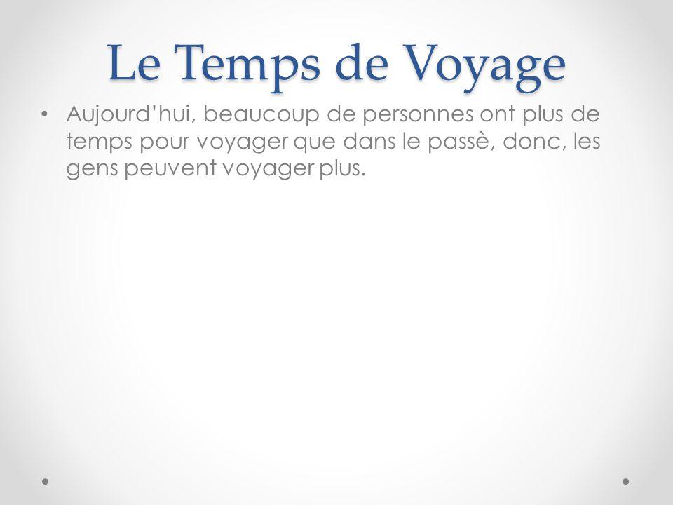 Le Temps de Voyage Aujourd'hui, beaucoup de personnes ont plus de temps pour voyager que dans le passè, donc, les gens peuvent voyager plus.