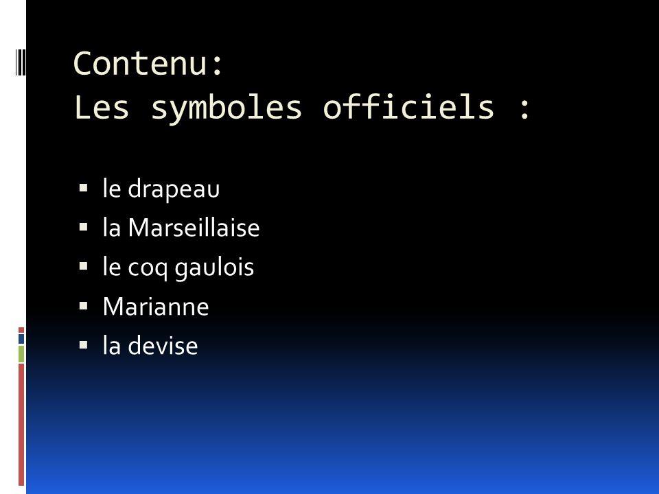 Contenu: Les symboles officiels :