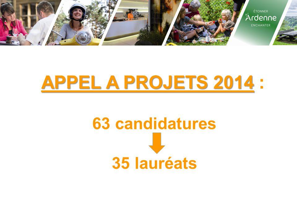 APPEL A PROJETS 2014 : 63 candidatures 35 lauréats