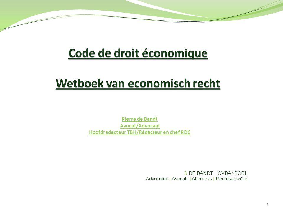 Code de droit économique Wetboek van economisch recht