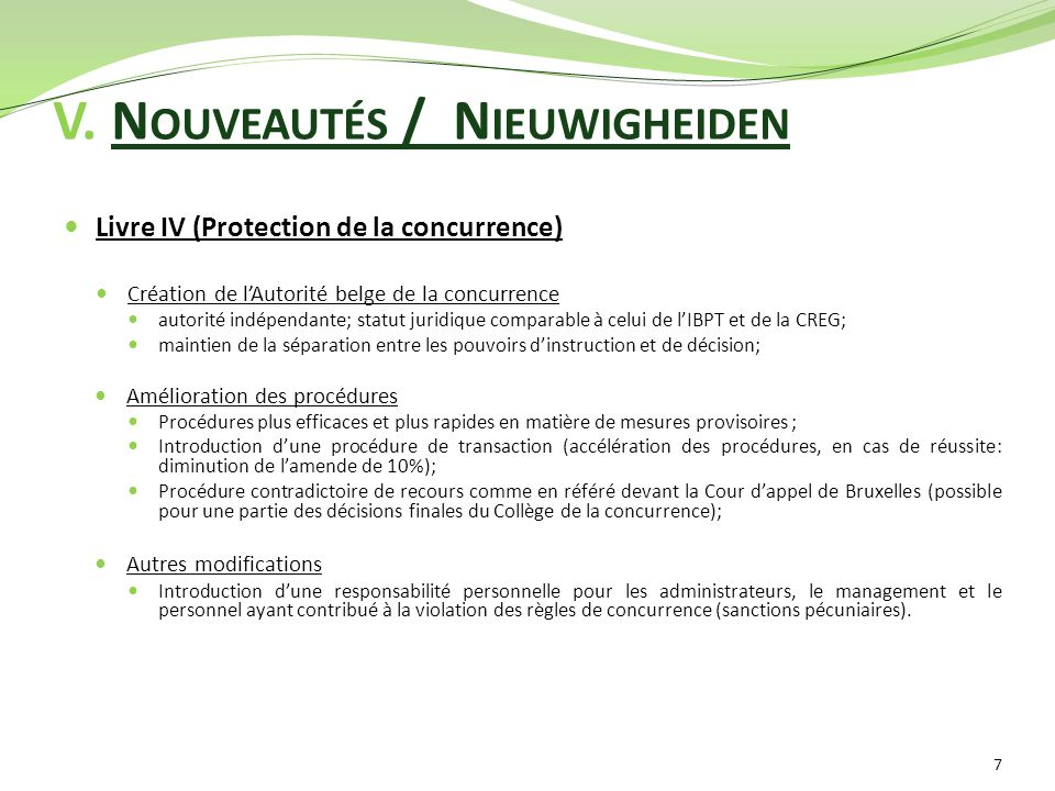 V. Nouveautés / Nieuwigheiden