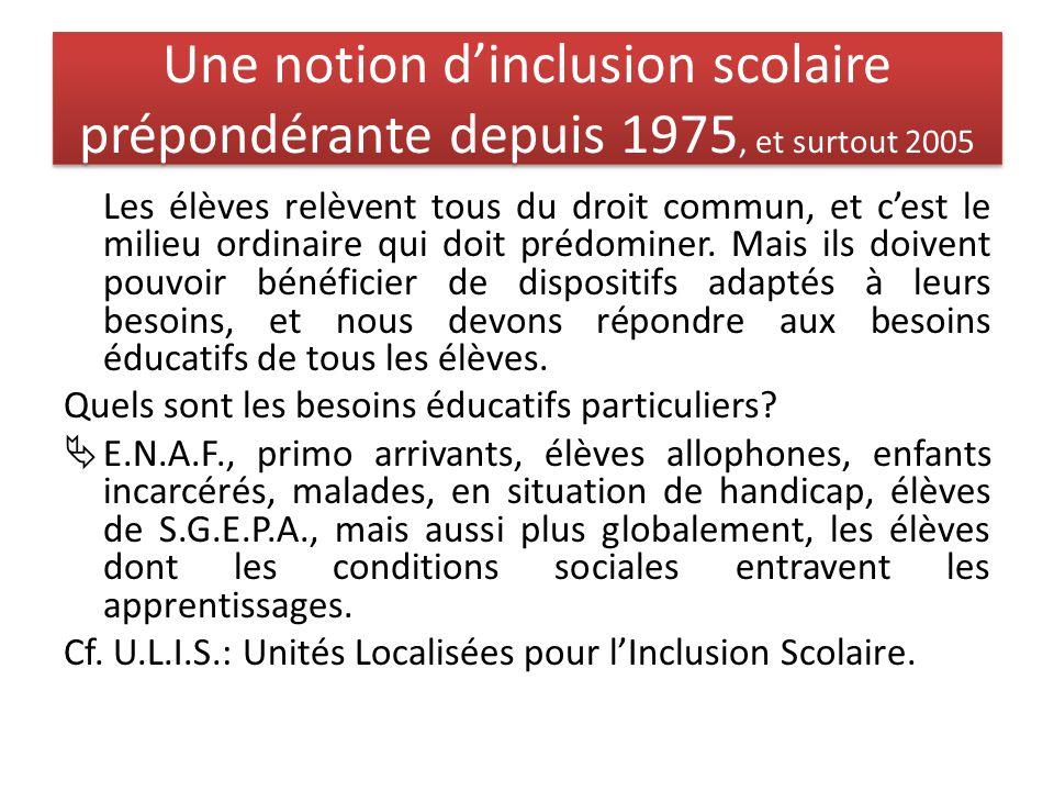 Une notion d'inclusion scolaire prépondérante depuis 1975, et surtout 2005