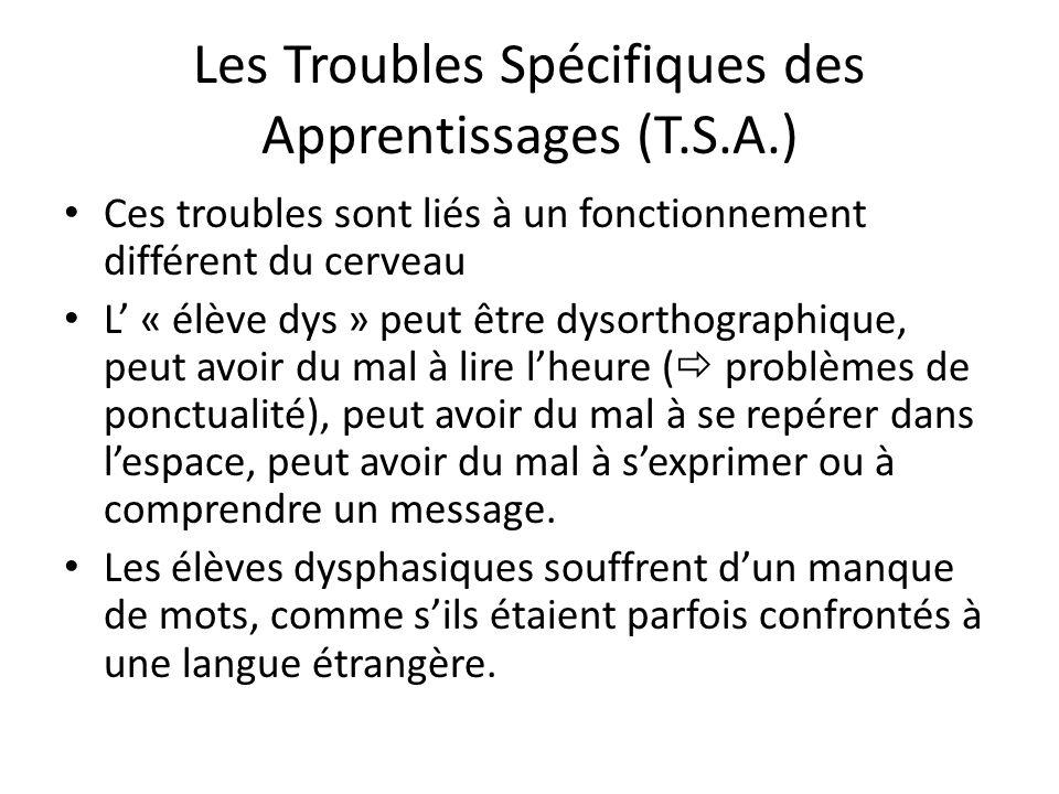 Les Troubles Spécifiques des Apprentissages (T.S.A.)