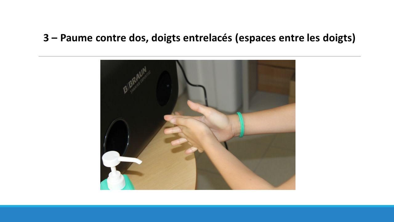 3 – Paume contre dos, doigts entrelacés (espaces entre les doigts)