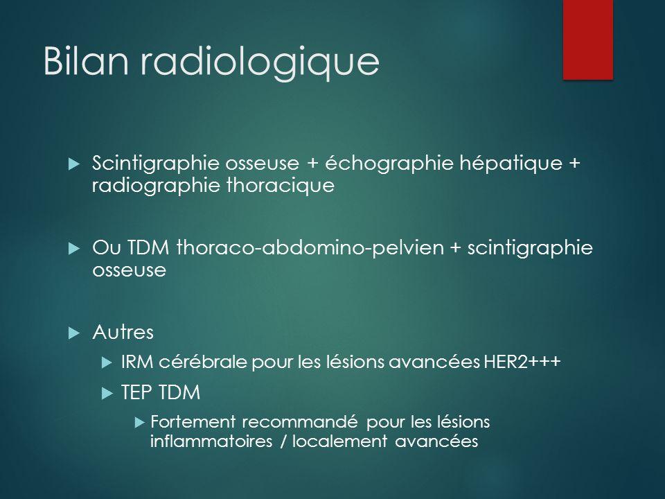 Bilan radiologique Scintigraphie osseuse + échographie hépatique + radiographie thoracique.