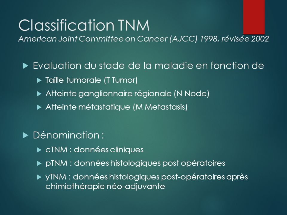 Classification TNM American Joint Committee on Cancer (AJCC) 1998, révisée 2002