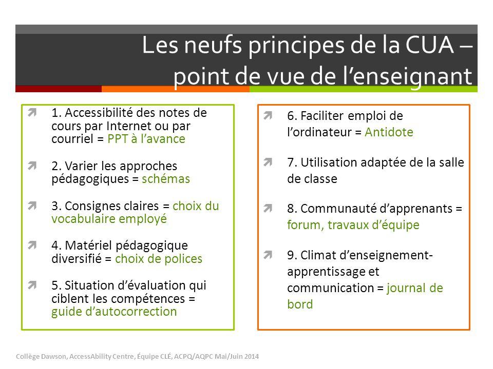 Les neufs principes de la CUA – point de vue de l'enseignant