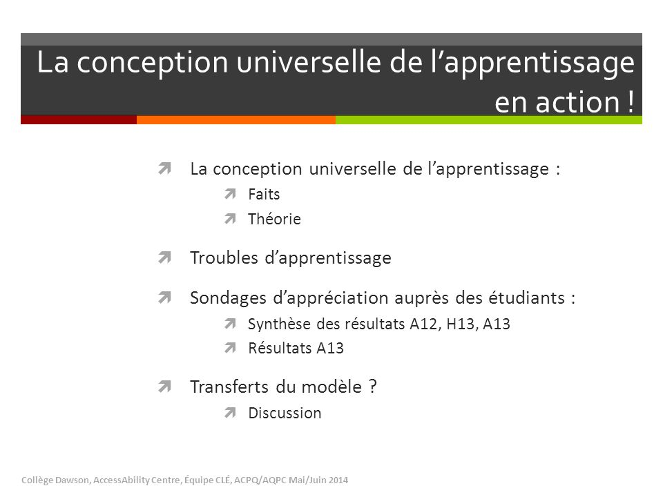 La conception universelle de l'apprentissage en action !