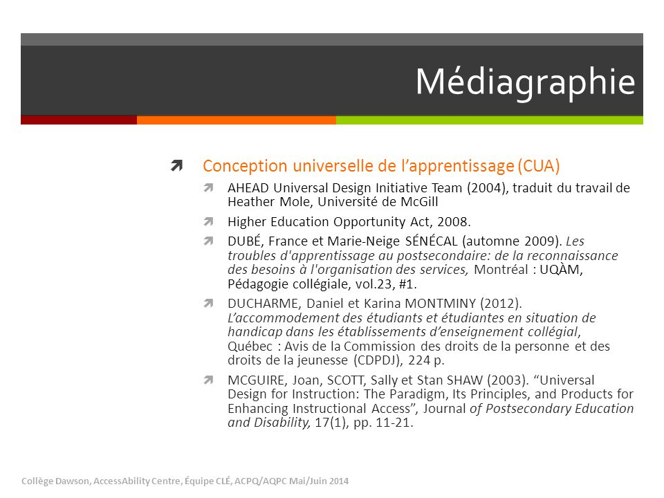 Médiagraphie Conception universelle de l'apprentissage (CUA)