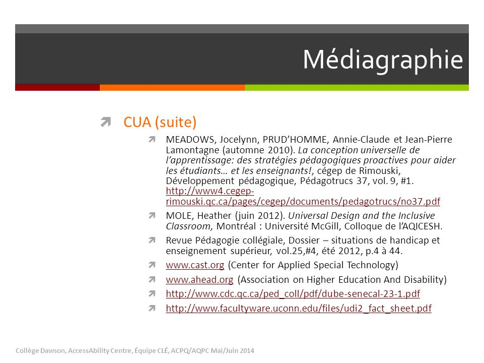 Médiagraphie CUA (suite)